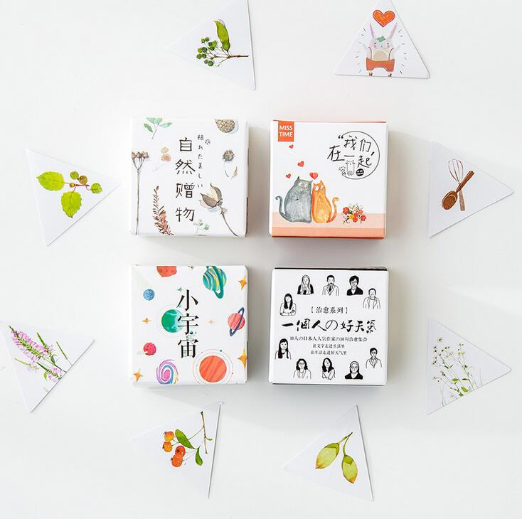40 pcs/pack Natural Universe Cure Series Illustration Decorative Stationery Stickers Scrapbooking DIY Diary Album Stick Label spring and fall leaves shape pvc environmental stickers decorative diy scrapbooking keyboard personal diary stationery stickers