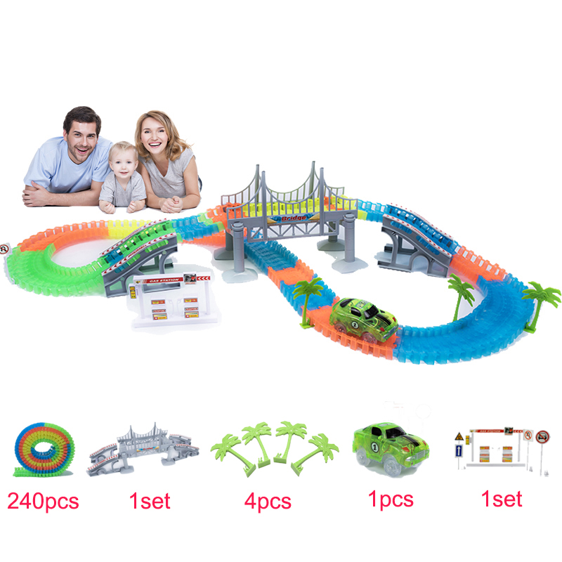 MAGIC TRACK 240PCS/Set Magical Glowing Race Tracks Set Flexible Racing track Bridge Car Toy Creative Toys Gifts For Children