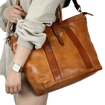 2018 vintage geunie leather tote handbag for women novelty spring cowhide one shoulder messenger bag female causal crossbody bag