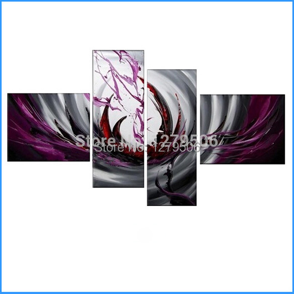 Hand Painted 4 Piece Modern Abstract Art Oil Painting On Canvas Red Wine Paintings Wall Picture