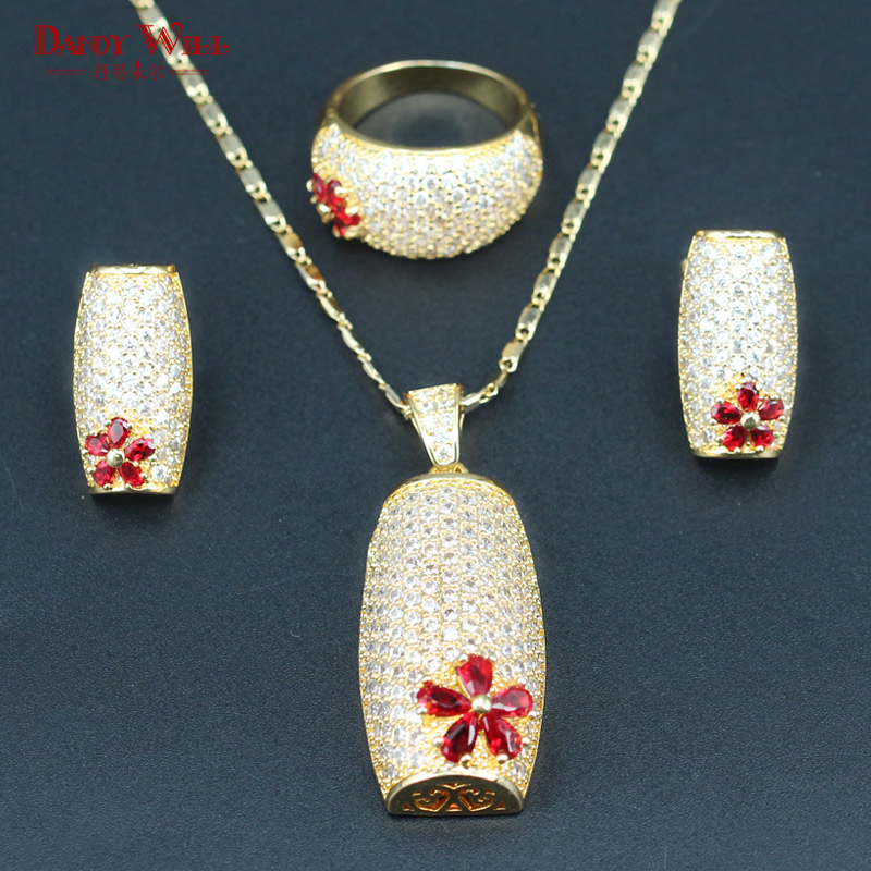New Arrival Gold Color Bridal Jewelry Sets For Women Red CZ White Crystal Wedding Jewelry Necklace/Earrings/Ring/Pendants