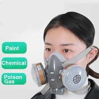 1ps FSUP masque respiratoire complet gaz (masque à gaz + lunettes + 2 charbon actif + 4 coton filtre) largement utilisé dans le gaz organique, peinture