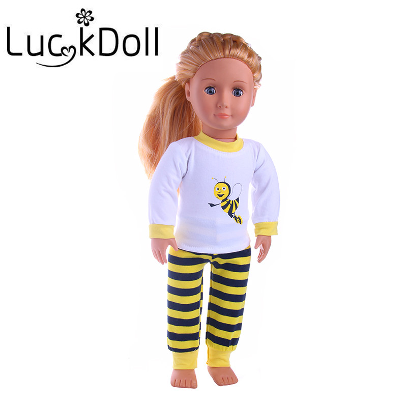 Lucky doll Baby Born American Clothes Doll Accessories Yellow Pajamas fit 18inch American Girl Doll, Children best Birthday Gift