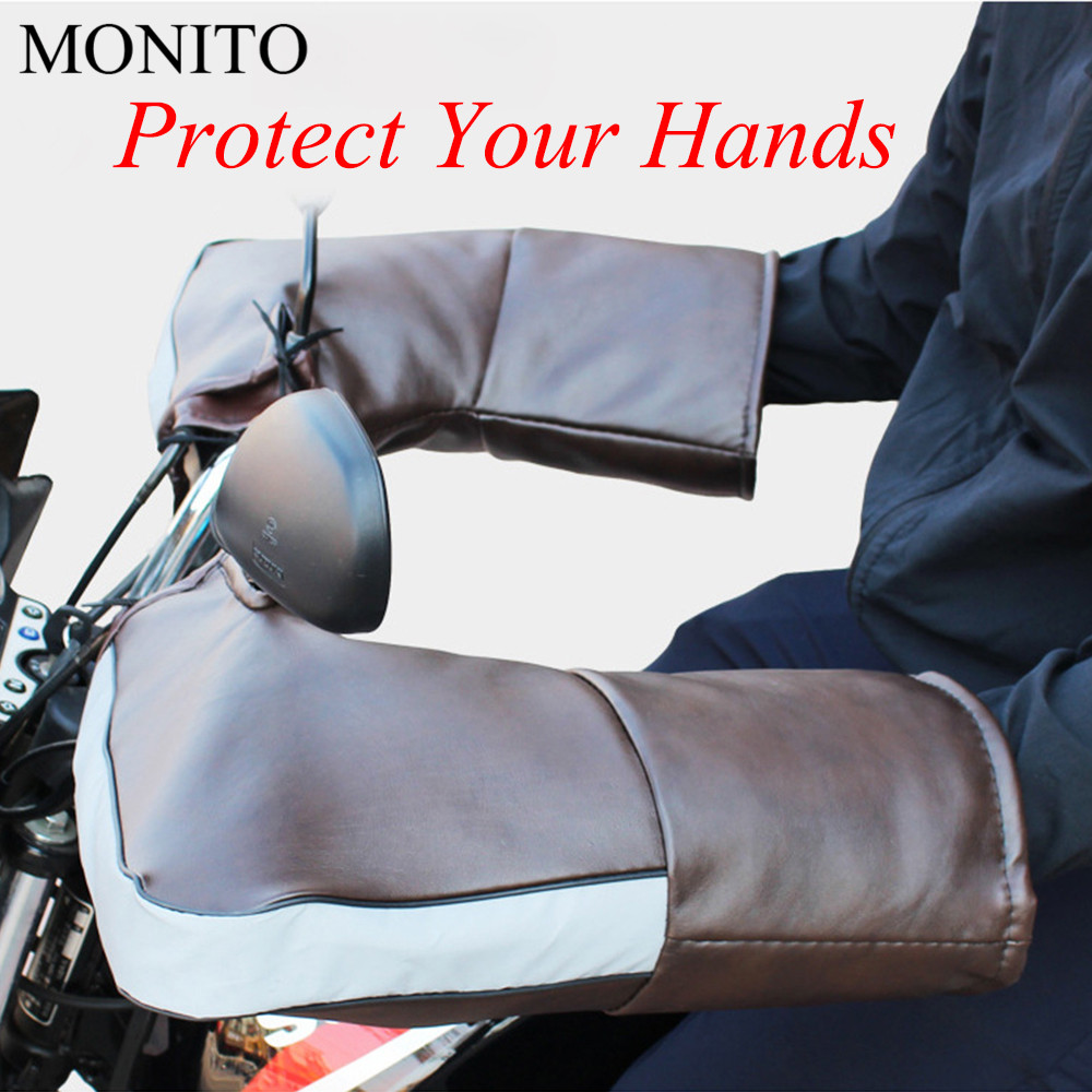 Motorcycle Snowmobile Handlebar Gloves Muffs Winter Hand Warmer Grip Mitts 1pair