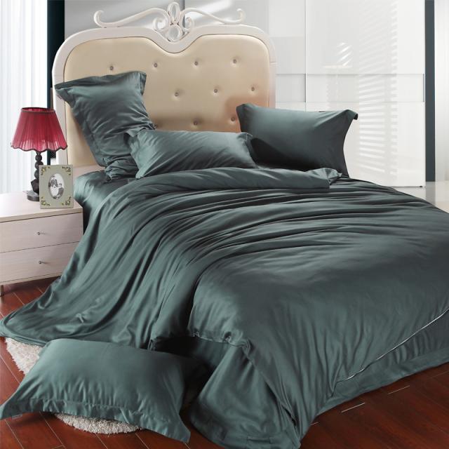luxury dark green bedding set king size queen duvet cover bed spread double sheet linen quilt. Black Bedroom Furniture Sets. Home Design Ideas