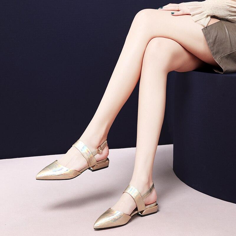 Ayakk.'ten Düşük Topuklular'de NEMAONE yeşil altın rugan düşük topuk Sandalet kadın ayakkabı bayanlar parti elbise ayakkabı kadın toka kayış bayan ayakkabıları'da  Grup 2