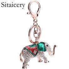 Sitaicery Elephant Keychain Rhinestone Key Chain Bag Charm Car Pendant Trinket Chaveiro Key Chain Women Accessories Wholesale недорого