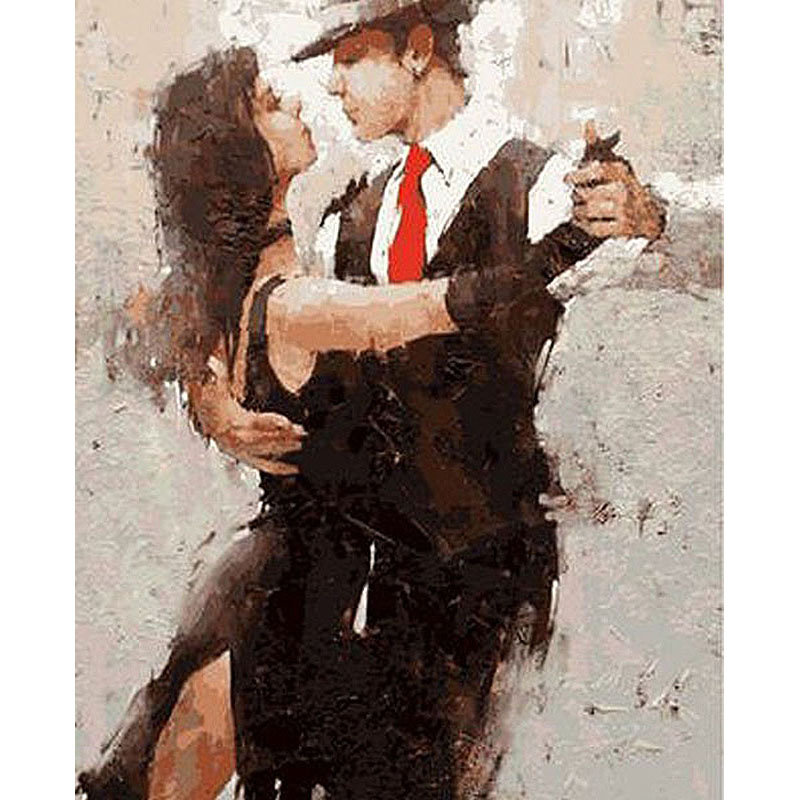ArtSailing picture-by-numbers on canvas Lovers Tango Dance paintings by numbers with acrylic paints Posters with frame NP-038