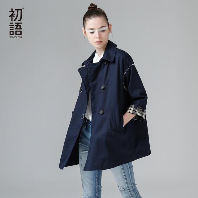Toyouth Windbreaker Women 2017 Autumn Women Fashion Double-breasted Turn Down Collar Cotton Outerwear Coat