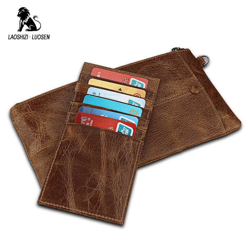 LAOSHIZI LUOSEN Cow Leather Male Wallet Pocket Phone Wristlet Wallet Slim Credit Card Holders Organizer Wallets Men RFID hand