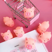 лучшая цена 3 pieces/batch pink scream rubber pig toys cheep gift baby toys prank surprise toys  pink pig free shipping