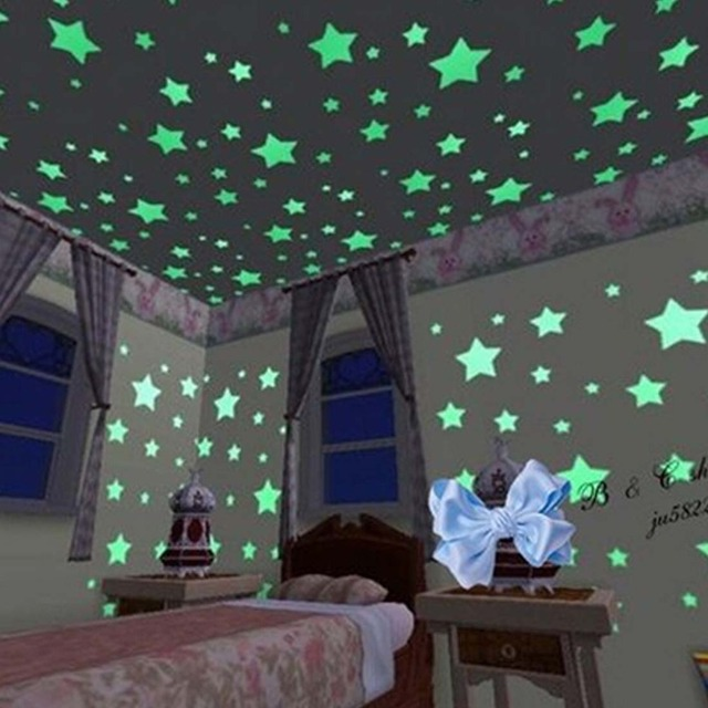 100 Teile/paket Leuchtende Sterne Zimmer Romantik Full Fluoreszierenden  Wandaufkleber Kreative Kinder Raumdekoration Paste