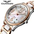Relojes Mujer 2016 Luxury Brand Оригинал GUANQIN Кварцевые Часы Женщины Сапфир Керамические Водонепроницаемый Женские Часы relogio женщина для