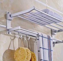 NEW DOUBLE CHROME WALL MOUNTED BATHROOM TOWEL HOLDER SHELF STORAGE RACK RAIL