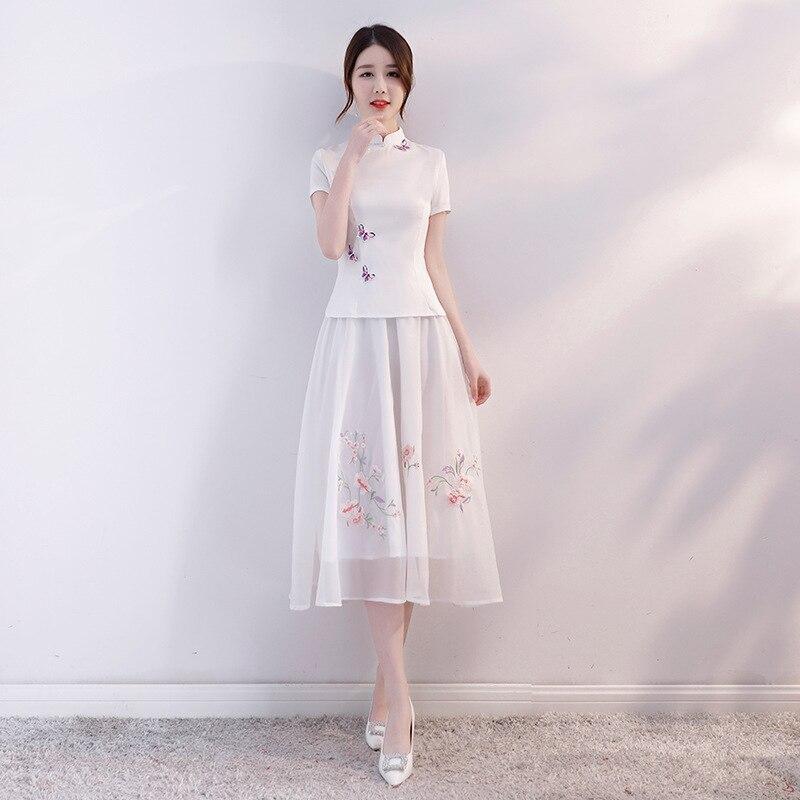 67bf7b3a8d38 2018 blanco verano blusa para mujer conjuntos de falda estilo chino  tradicional 2 piezas camisa ...