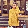 2016 nueva venta caliente de la mujer otoño invierno largo y grueso de punto flojo jerseys abrigos mujer yardas grandes pullovers de cuello alto escudo
