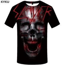 KYKU Skull Tshirt Men Black Blood T-shirt Anime Clothes Punk Rock War Print T Shirt 3d Hip Hop Mens Clothing Summer Streetwear стоимость
