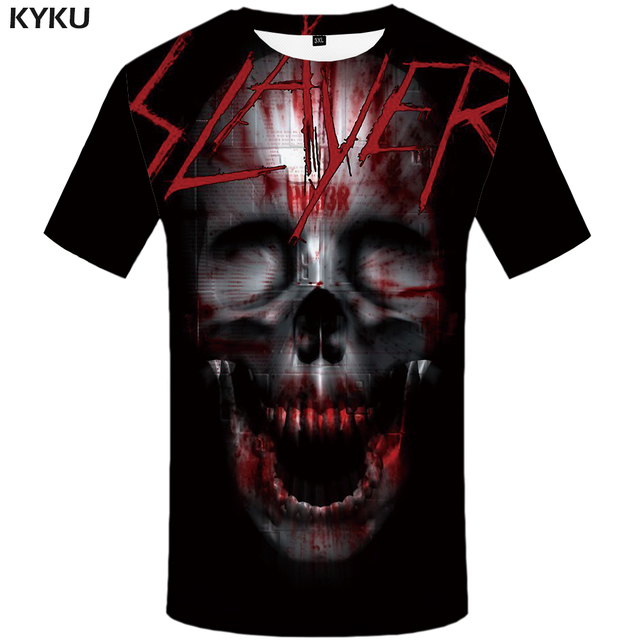 KYKU Skull Tshirt Men Black Blood T-shirt Anime Clothes Punk Rock War Print T Shirt 3d Hip Hop Mens Clothing Summer Streetwear