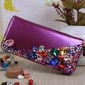 2015 fashion design color diamond Women Wallets Leather fammous Wallets Lovely Female Purse Clutch Bags XA470B