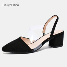 2019 summer women sandals pointed toe transparent PVC band square high heels flock slingback pumps party black shoes office lady недорого