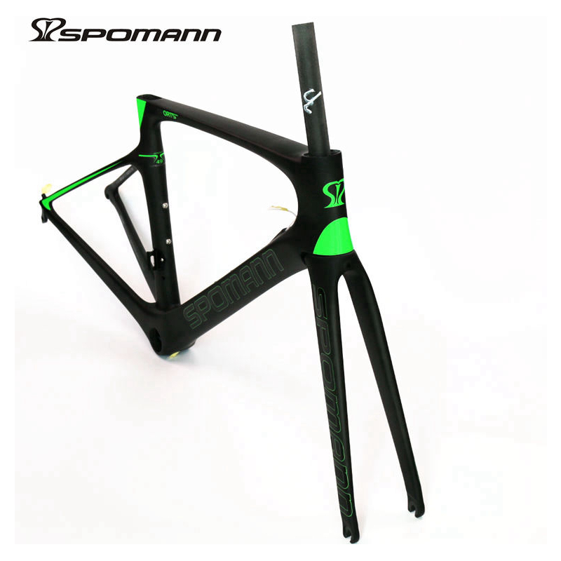 SPOMANN carbon road bike frame 700C UD matte bicycle set carbon frame seatpost fork headset 3 colors 46/49/52/54/56cm 53cm 55cm 58cm fixed gear bike frame matte black bike frame fixie bicycle frame aluminum alloy frame with carbon fork