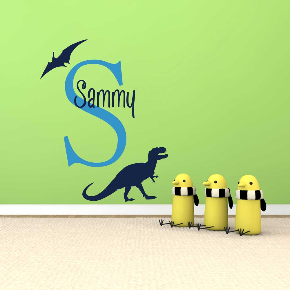 Boys Name Wall Decal Personalized Dinosaur Wall Stickers Custom Name Baby Nursery Wall Decals Home Decors 659C