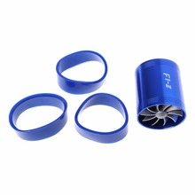 Hot Sale Blue F1-Z Double Supercharger Fuel Gas Saver Fan Universal Turbine Turb Air Intake G6KC цена