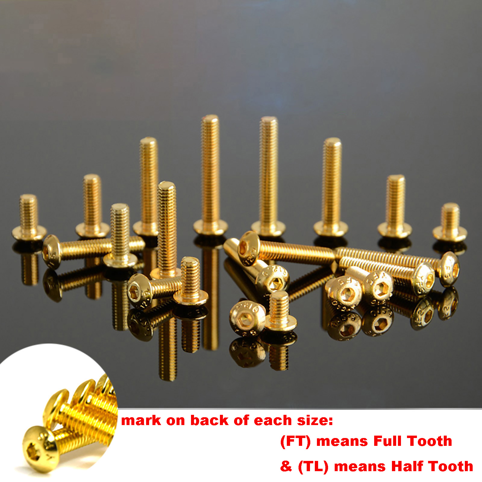 10Pcs Grade 12.9 Half Round Head Plating Titanium Gold Hex Screw <font><b>M2</b></font> <font><b>M2</b></font>.5 M3 M4 M5 ISO7380 Hex Socket Screw Length 5-<font><b>30mm</b></font> image
