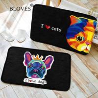 I Love Dogs Cats Watercolor Forest Floor Mat For Living Room Black French Velvet Alfombra Bathroom