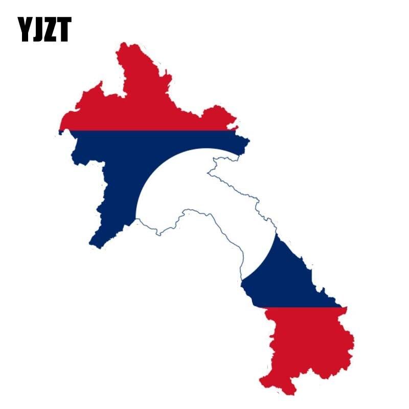 YJZT 16CM*7.8CM Accessories Laos Map Flag Reflective Body Car Sticker Decal 6-0917
