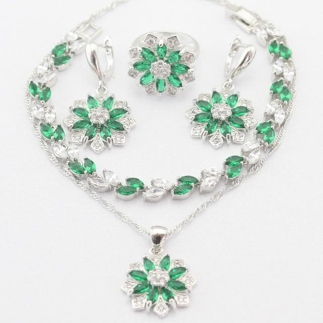 Flor de Prata Pingente Banhado A Colar Brincos Anéis pulseira Imitado Verde Esmeralda Branco CZ Conjuntos de Jóias de Presente de Natal