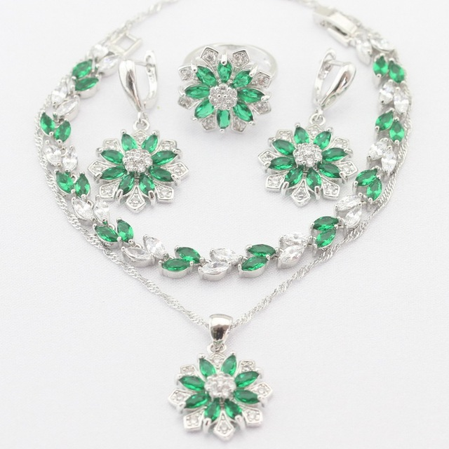 Flower Silver Plated Necklace Pendant Earrings Rings bracelet Green Imitated Emerald  White CZ Jewelry Sets Christmas Gift