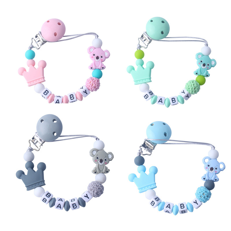 Chain Pacifier-Chain-Holder Letters-Toys Nipple-Feeding Personalised Name Baby Cartoon-Bear title=