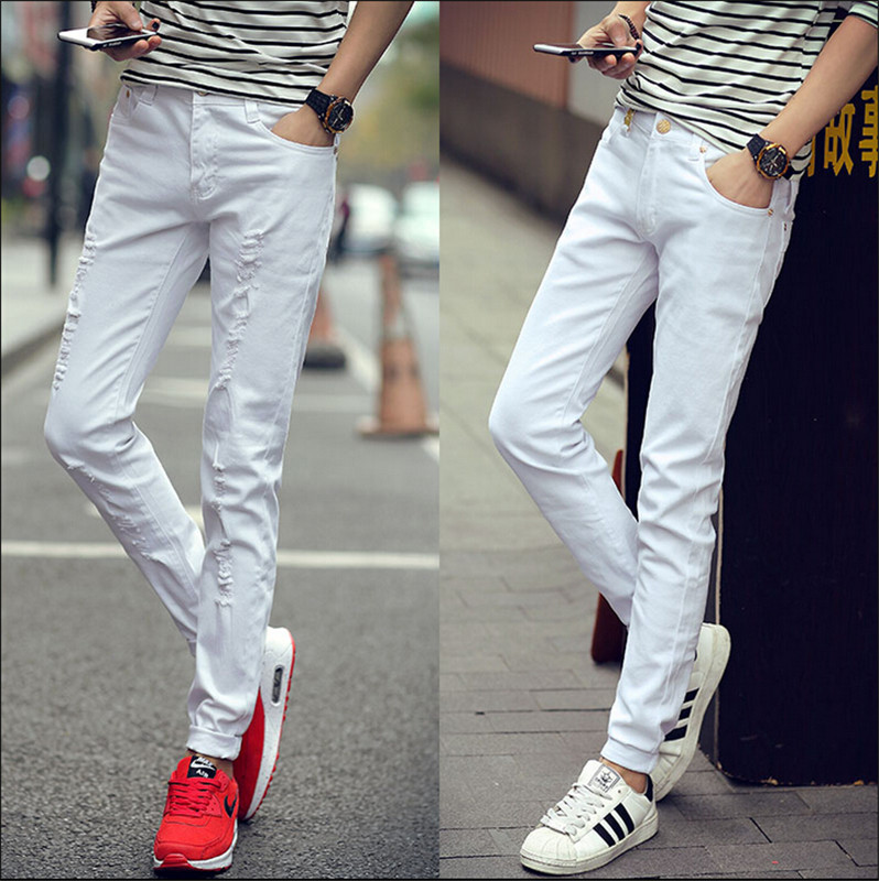 Men's skinny jeans stretch cotton micro spring-summer 2016 men's fashion new Slim pants feet trousers white