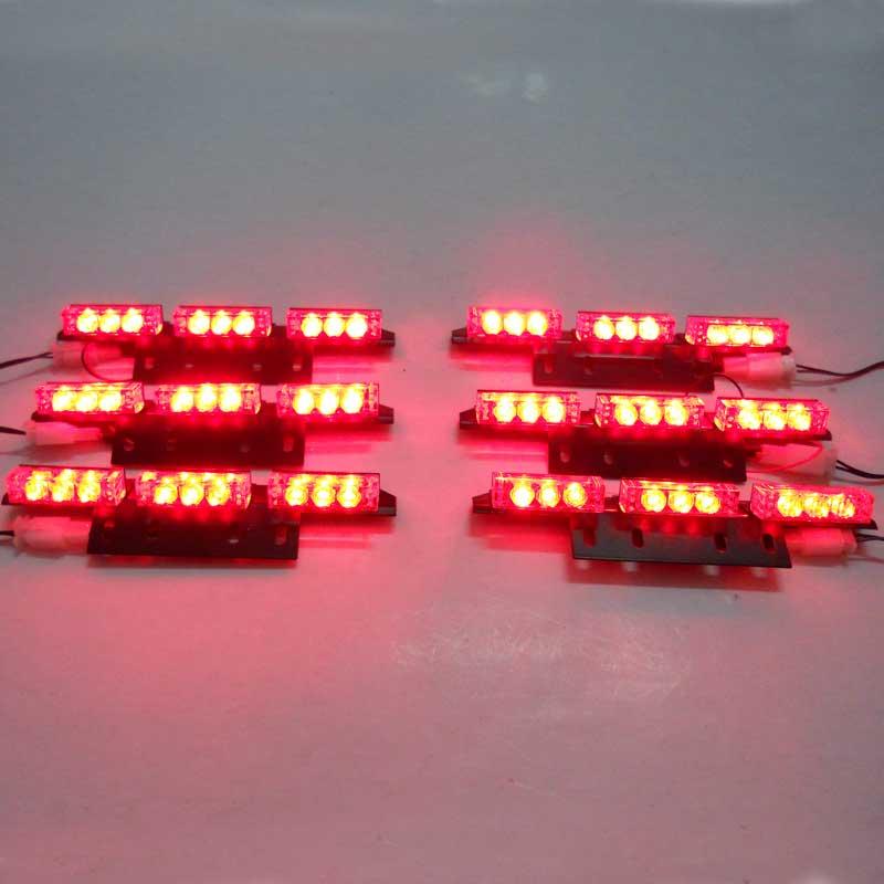 Hotsale12V 6 Panel Car Styling Emergency Strobe Warning Light 30W 54LEDS Lamp with 3 Flashing Modes Red Blue White Green Amber