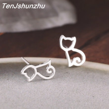 High Quality 100% 925 Sterling Silver Earring Fashion Cute Cat Stud Earrings Gift For Women Girls Sterling-silver-jewelry(China)