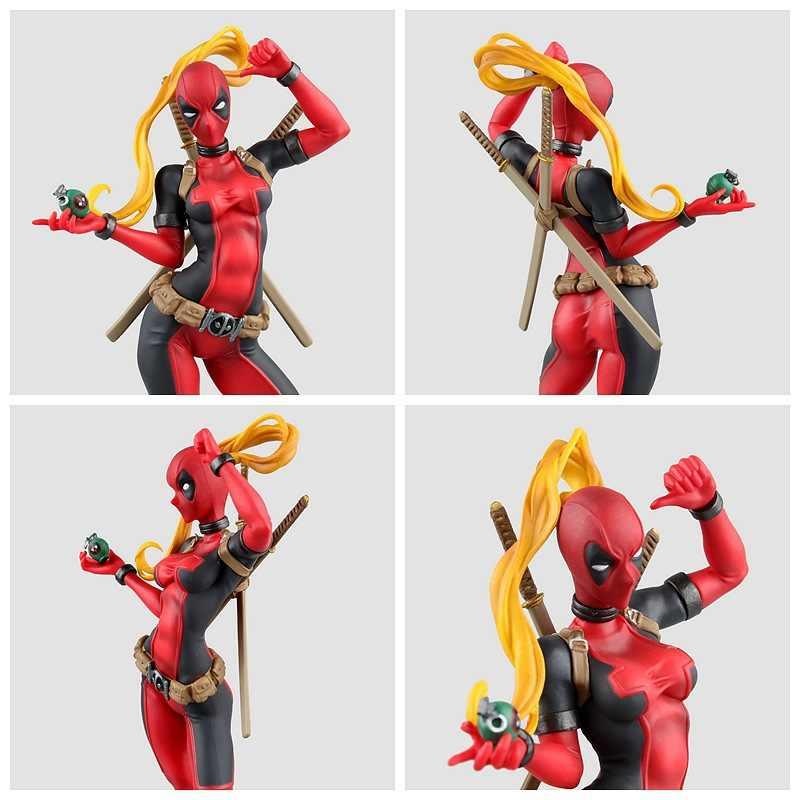 24 cm Siêu Anh Hùng X-Men Hành Động Hình Deadpool PVC Lady Deadpool Hành Động Con Số Phụ Nữ Chết Hồ Bơi Cô Gái với vũ khí Đồ Chơi Trẻ Em Mô Hình