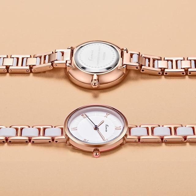 KIMIO Women White Imitation Ceramic Bracelet Watches Simple Big Dial Ladies Quartz Watch Roman Scale Wristwatch