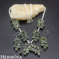 HERMOSA Jewelry Exquisite Charming Retro Style Olivine 925 Sterling Silver Necklace Earrings Set HF766