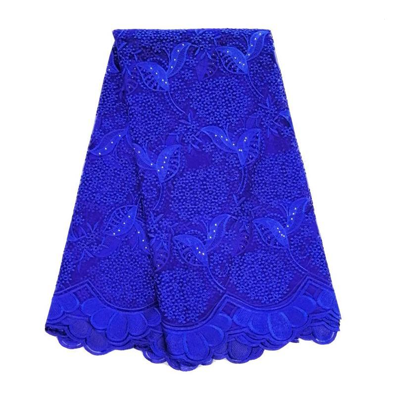 Tela de encaje africano azul real 2019 tela de malla francesa de encaje de alta calidad con pedrería telas de encaje metálico Nigeriano para vestido