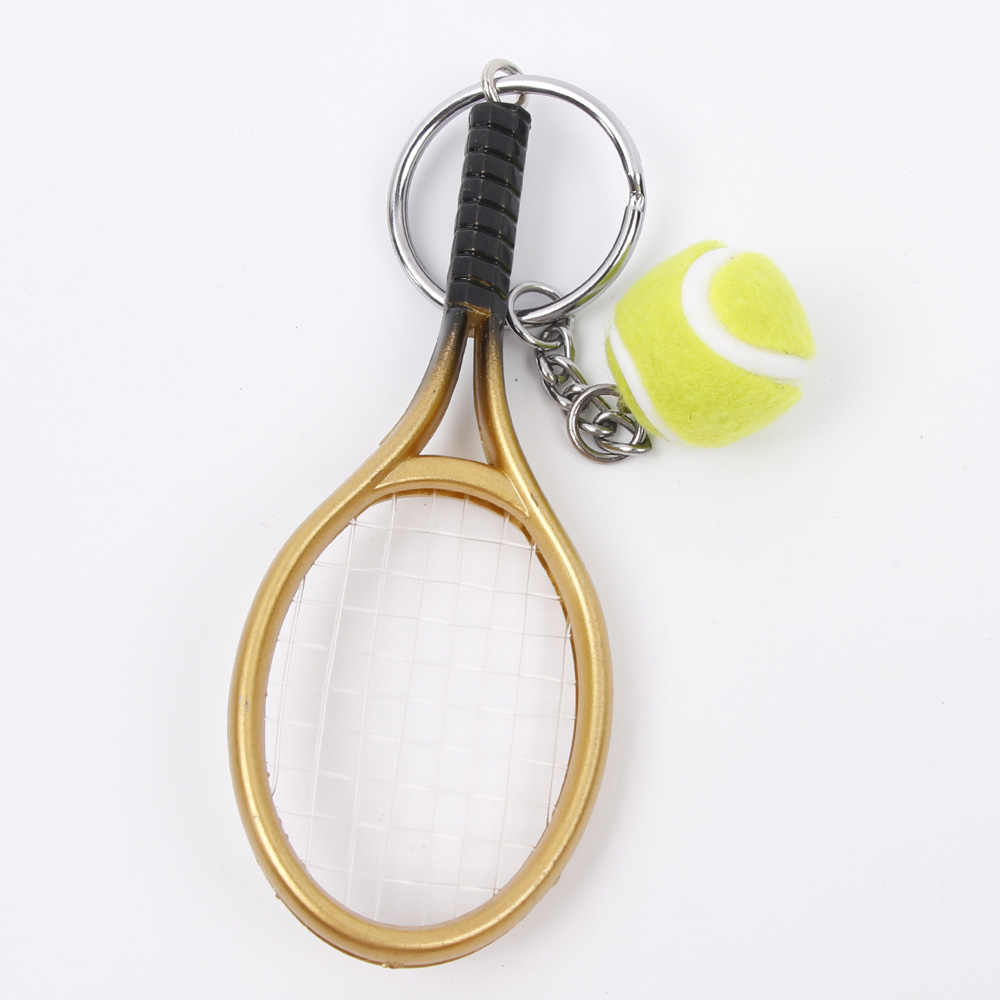 Hot SALE Mini Tennis Racket Pendant Keychain Keyring Key Chain Ring Finder Holer Accessories For Lover's Day Gifts