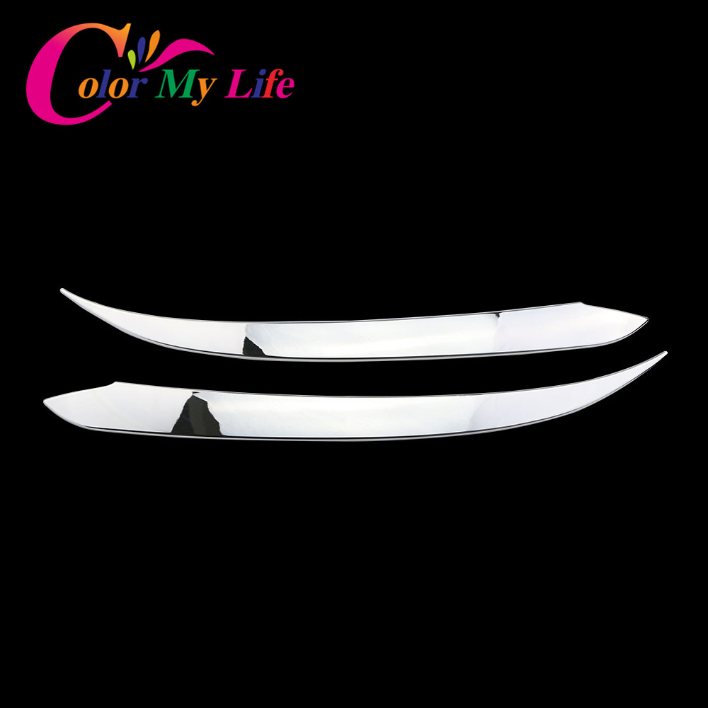 Color My Life ABS Silver Car Front Headlight Trim Cover Head Lights Sticker For Hyundai  ...
