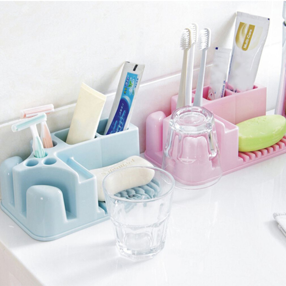Multifunctional Toothbrush Cup Holder Razor Storage Box Tooth Brush Rack Bathroom Storage Accessories Cosmetic Makeup Container
