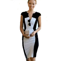 H0113 Nieuwe Top Fashion Zomer V-hals Mouwloos Patchwork Formele Slanke Vrouwen Potlood Party Cocktail knielange Jurk Gratis Verzending