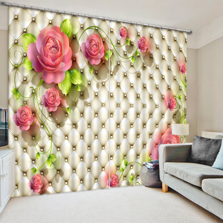 Decoration Home Kitchen Curtains 3D Curtains Custom Beautiful Rose Curtains  3d Stereoscopic Curtains(China (