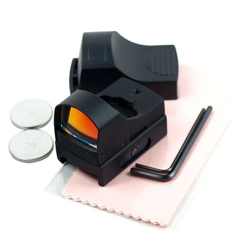 GUGULUZA Holográfica Red Dot Sight Scope Tactical Mini Compacto Brilho Ajustável Micro Reflex Red Dot Rifle Pistola de Luz