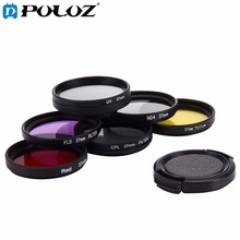 7 in 1 professional 37mm Lens Filter(CPL + UV + ND4 + Red + Yellow + FLD / Purple) & Lens Protective Cap for GoPro HERO4 / 3+/ 3