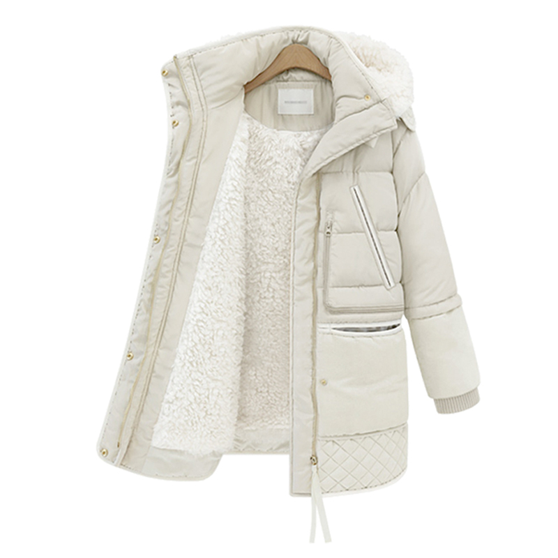 Winter Cotton Coat Women Slim Snow Outwear Medium-long Wadded Jacket Thick Hooded Cotton Padded Warm Cotton   Parkas