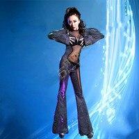 Для женщин блестящие разноцветный комбинезон одежда с длинным рукавом стрейч пикантные боди с имитацией обнаженного тела сцены День рожде