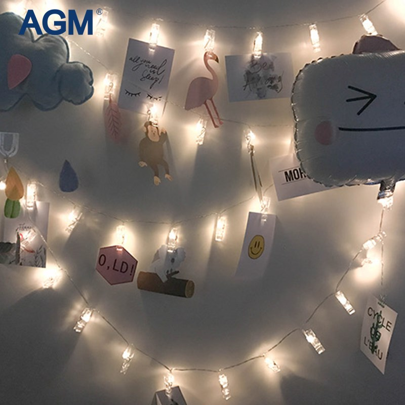 Agm Led Garland Fairy String Lights Photo Clip Battery